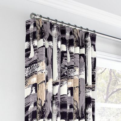 Black & White Brushstrokes Euro Pleated Curtains