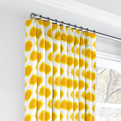 Bright Yellow Dot Euro Pleated Curtains
