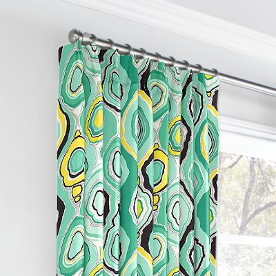 Lime Green & Yellow Abstract Euro Pleated Curtains
