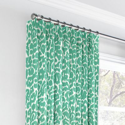 Bright Green Leopard Print Euro Pleated Curtains