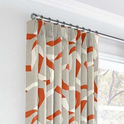 Orange Red Ribbon Euro Pleated Curtains