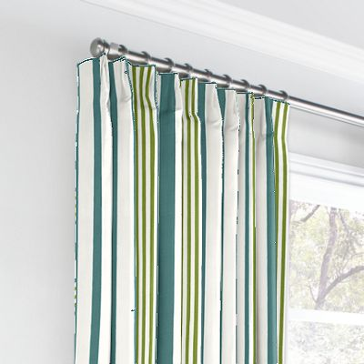 White, Teal & Green Stripe Euro Pleated Curtains