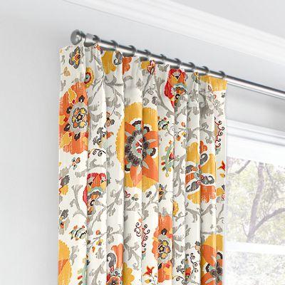 Orange Suzani Euro Pleated Curtains
