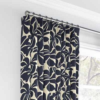 Navy Graphic Floral Euro Pleated Curtains