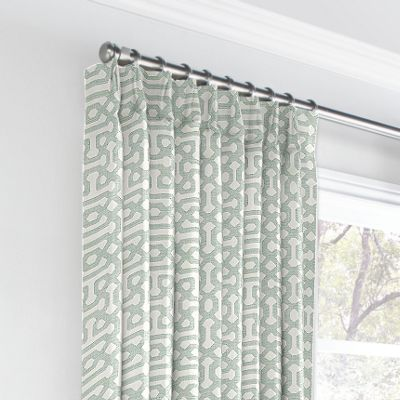 Pale Seafoam Trellis Euro Pleated Curtains