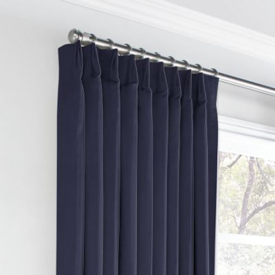 Navy Blue Sunbrella® Canvas Euro Pleated Curtains