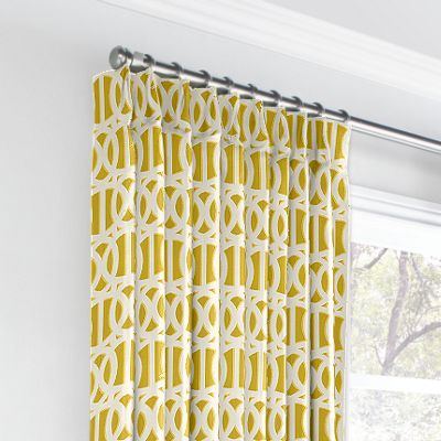 Bright Yellow Trellis Euro Pleated Curtains
