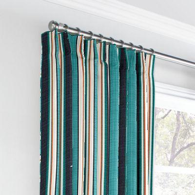 Turquoise & Black Stripe Euro Pleated Curtains