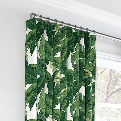 Green Banana Leaf Euro Pleated Curtains