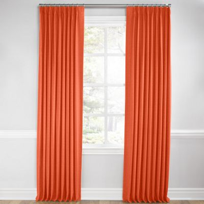 Solid Coral Linen Pleated Curtain