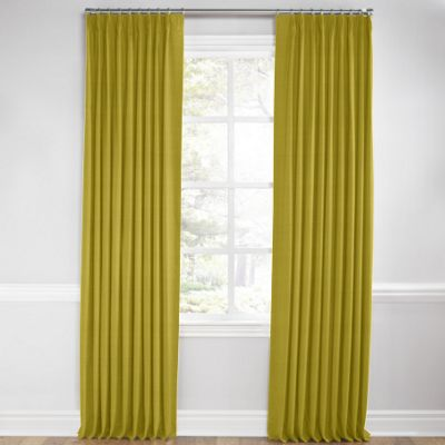 Chartreuse Green Linen Pleated Curtain
