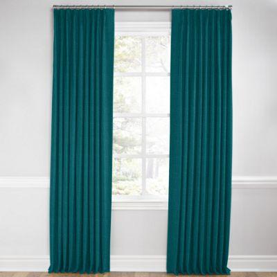 Dark Teal Linen Pleated Curtain