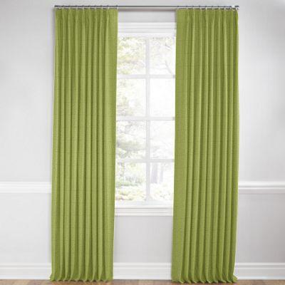 Grass Green Slubby Linen Pleated Curtain