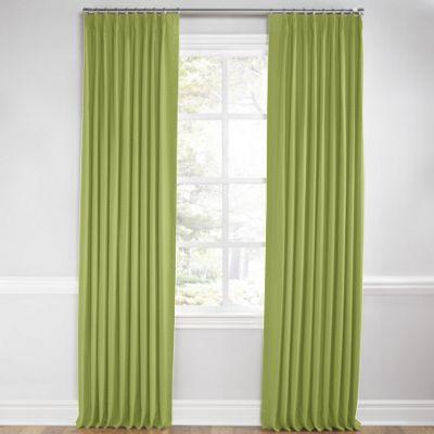 Grass Green Slubby Linen Euro Pleated Curtains