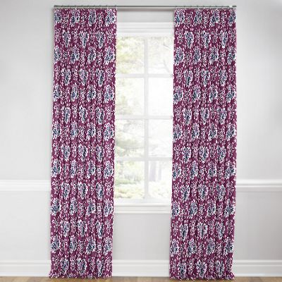 Purple & Teal Leaf Euro Pleated Curtains