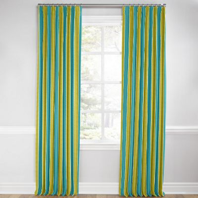 Lime & Teal Stripe Pleated Curtain