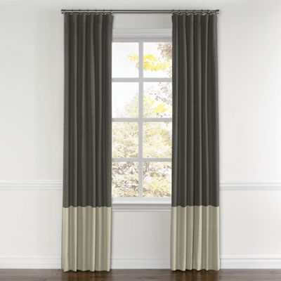 Charcoal Gray & Light Taupe Linen Color Block Curtain