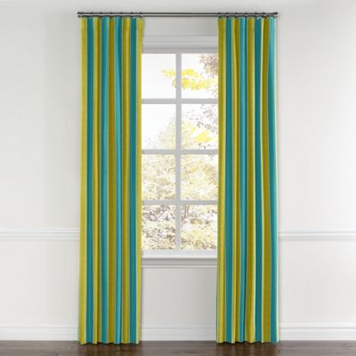 Lime & Teal Stripe Curtain, Ring Top