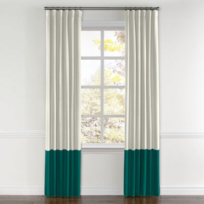 White & Yeal Canvas Color Block Curtain