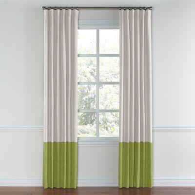 Pale Gray & Moss Green Linen Color Block Curtain
