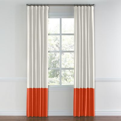 Ivory & Coral Linen Color Block Curtain