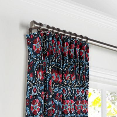 Red & Navy Blue Suzani Pleated Curtains