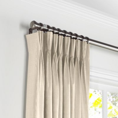 Beige Pinstripe Pleated Curtains