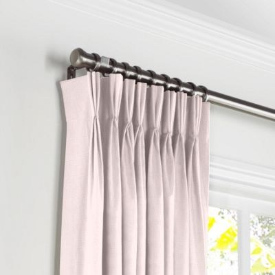 Pale Pink Linen Pleated Curtains