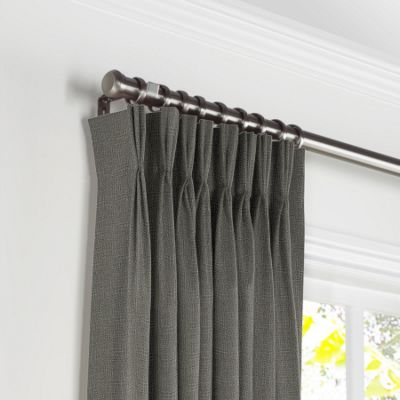 Charcoal Gray Linen Pleated Curtains