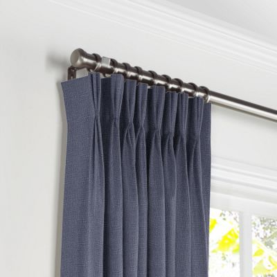 Navy Blue Lightweight Linen Pleated Curtains