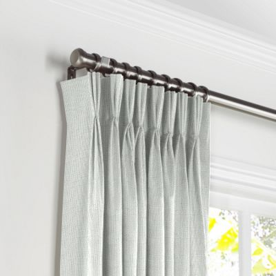 Pale Gray Slubby Linen Pleated Curtains