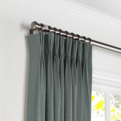 Charcoal Slubby Linen Pleated Curtains