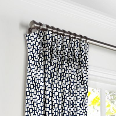 Navy Blue Square Trellis Pleated Curtains