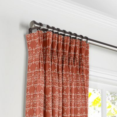 Orange Quatrefoil Block Print Pleated Curtains