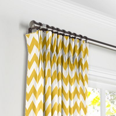 Bright Yellow Chevron Pleated Curtains