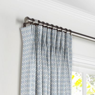 Sky Blue Lattice Pleated Curtains