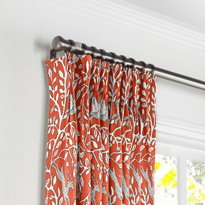 Red Animal Motif Pleated Curtains