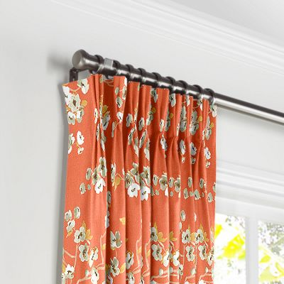Orange Cherry Blossom Pleated Curtains