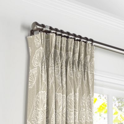 Beige Fan Leaf Pleated Curtains