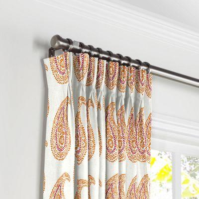 Orange & Pink Paisley Pleated Curtains