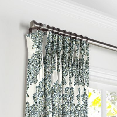 Paisley-Style Aqua Damask Pleated Curtains