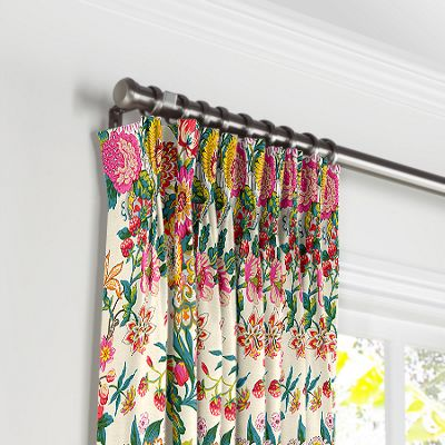 Candy-Colored Chinoiserie Pleated Curtains
