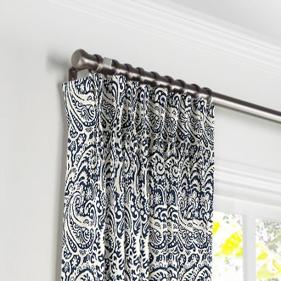 Navy Blue Paisley Pleated Curtains