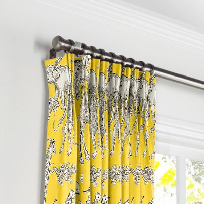 Yellow & Gray Zoo Animal Pleated Curtains
