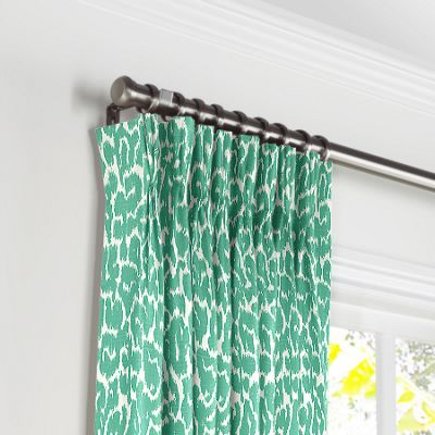 Bright Green Leopard Print Pleated Curtains