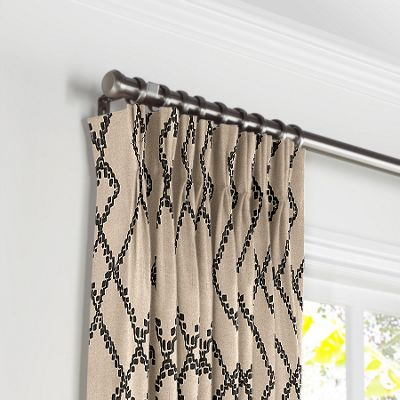 Black & Tan Tribal Trellis Pleated Curtains