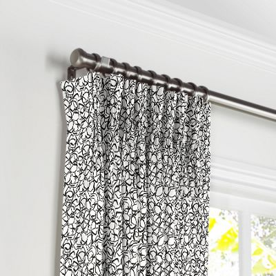 Black & White Abstract Hexagon Pleated Curtains
