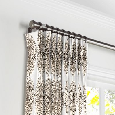 White & Tan Spiky Oval Pleated Curtains