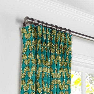 Metallic Gold & Teal Fan Pleated Curtains