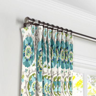 Aqua Blue Suzani Pleated Curtains